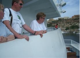 Lesley, Hugh and Sally arriving on the Gozo Ferry